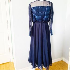 Cache Blue Long Sleeve Chiffon Midi Dress Sz XS/S